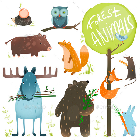 GraphicRiver Cartoon Forest Animals Set 9078279