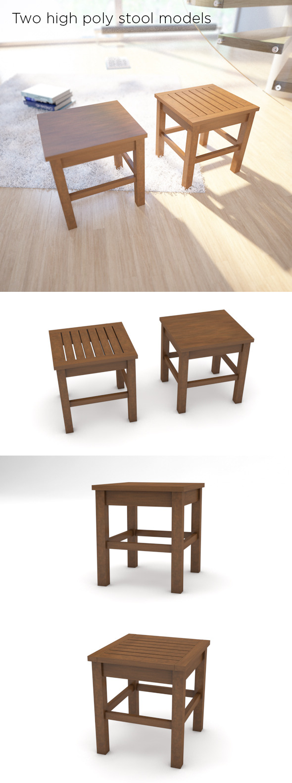 3DOcean Two high poly stool models 9079289