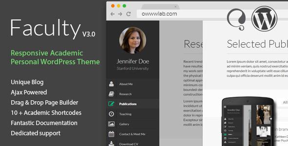 Faculty - Responsive Academic WordPress Theme - Personal Blog / Magazine