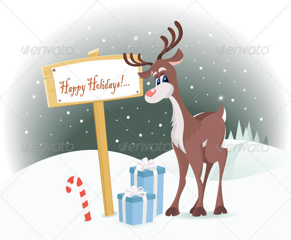 Graphic River Rudolph Reindeer Happy Holidays Vectors -  Conceptual  Seasons/Holidays  Christmas 926657