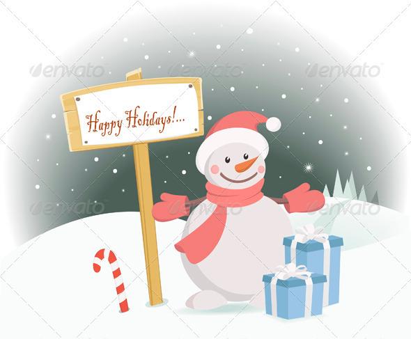 Graphic River Snowman Happy Holidays Vectors -  Conceptual  Seasons/Holidays  New Year 926684