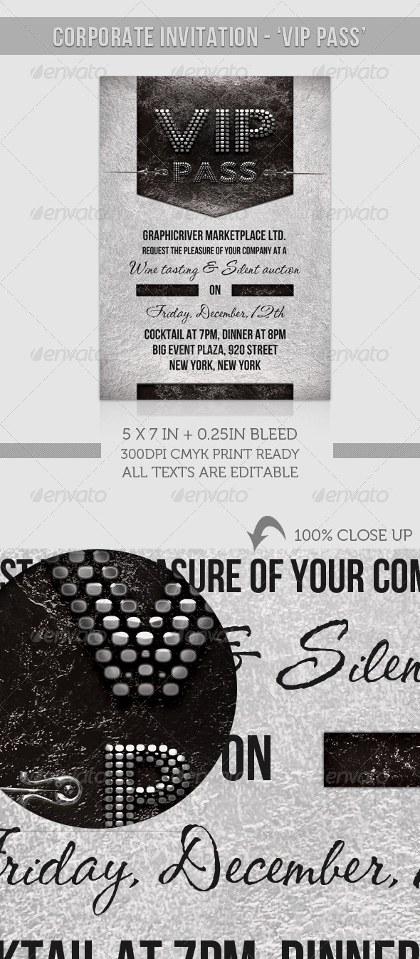 Graphic River Corporate Invitation VIP Pass  Print Templates -  Cards & Invites  Invitations 926717