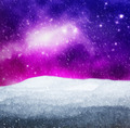 Magical winter landscape. Snow, sky with glowing stars. - PhotoDune Item for Sale
