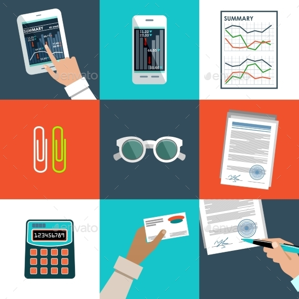 GraphicRiver Flat Set of Office Things 9080914