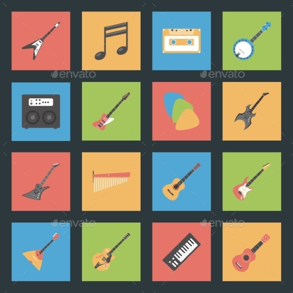 GraphicRiver Musical Instruments Flat Icons Set 9081069