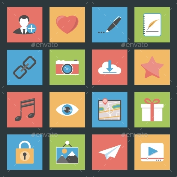 GraphicRiver Socia Media Web Flat Icons Set 9081074