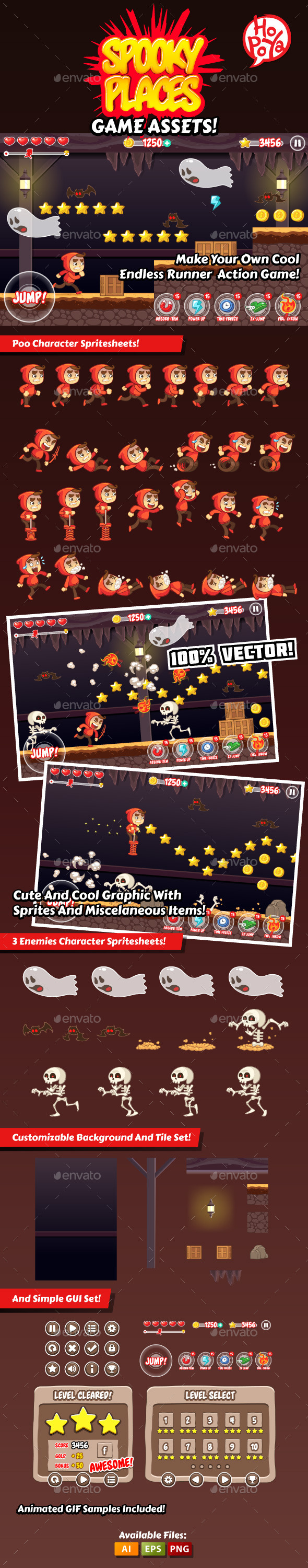 GraphicRiver Spooky Places Game Assets 9068866