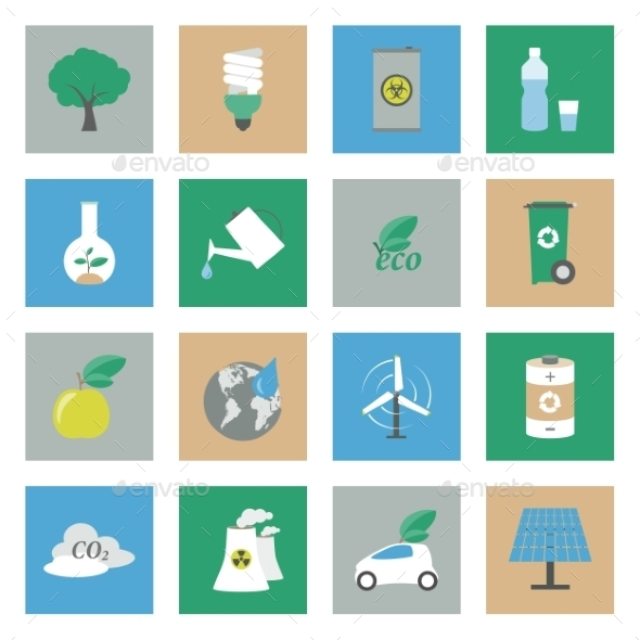 GraphicRiver Ecology Flat Icons Set 9081251