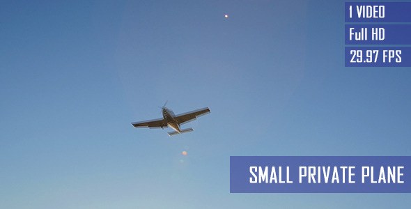 Small Private Airplane In Blue Sky