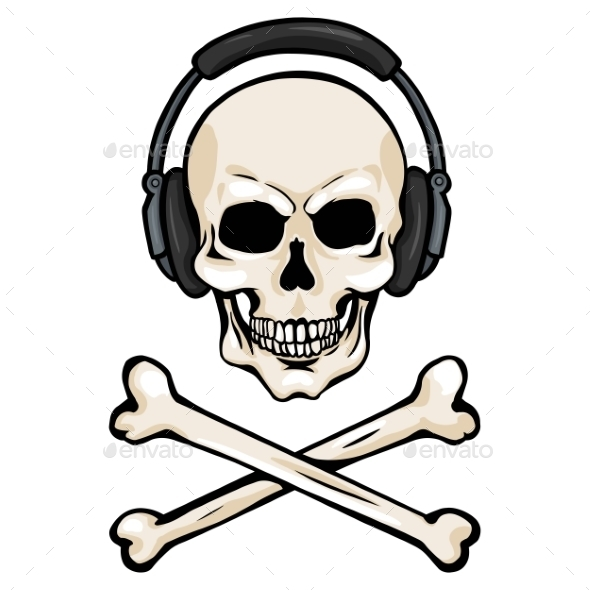 GraphicRiver Cartoon Skull with Headphones and Cross Bones 9082287