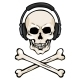 Cartoon Skull with Headphones and Cross Bones - GraphicRiver Item for Sale
