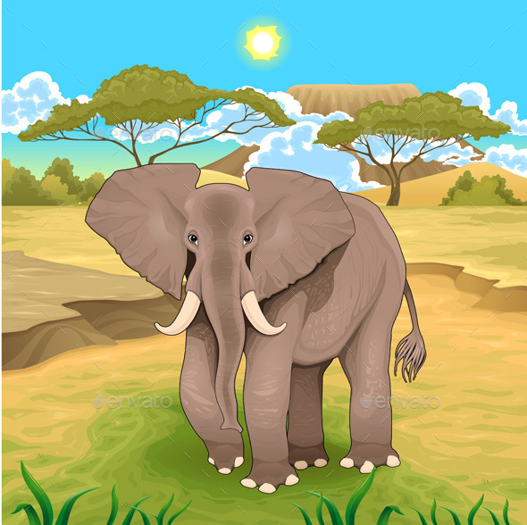 GraphicRiver African Landscape with Elephant 9082505