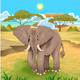 African Landscape with Elephant - GraphicRiver Item for Sale