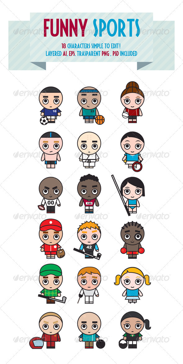 Graphic River Funny Sports Vectors -  Characters 927249