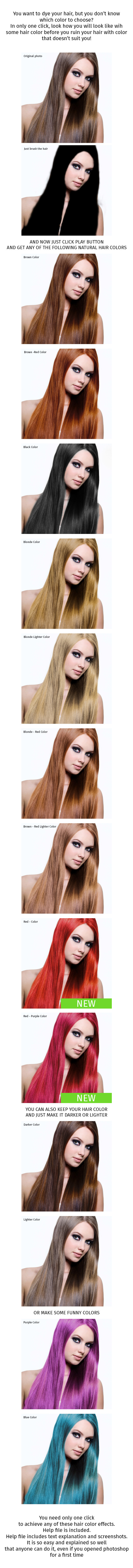 Hair Color Change Action - Photo Effects Actions