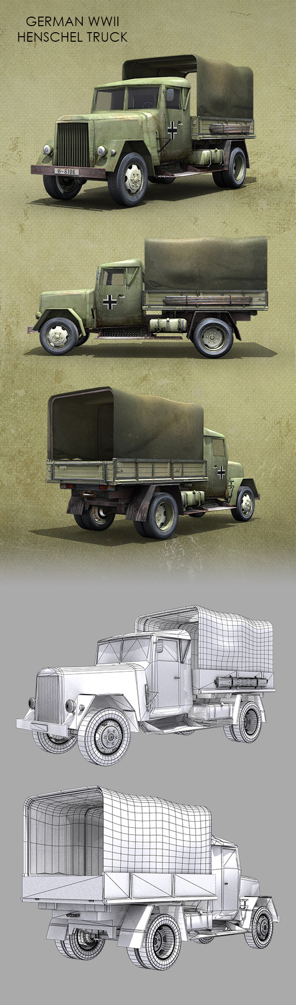 German WWII Henschel Truck - 3DOcean Item for Sale