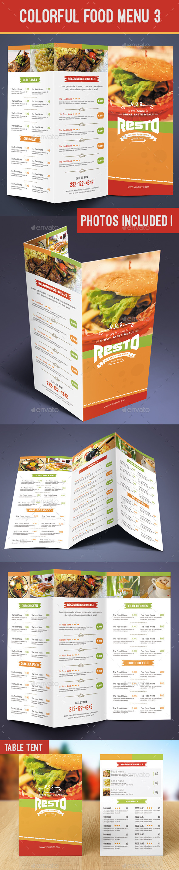 GraphicRiver Colorful Food Menu 3 table tent 9082660