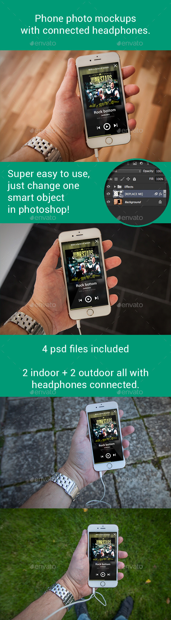 GraphicRiver Phone 6 Photo Mockups With Connected Headphones 9033634