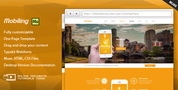 ThemeForest Mobiling App Landing Page Muse Template 8975072