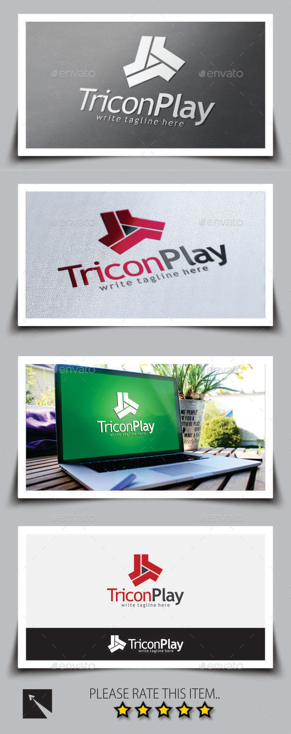 GraphicRiver Tricon Play Media Logo Template 9084773
