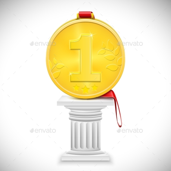 GraphicRiver Golden Medal With Ribbon On Column 9084982