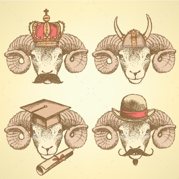 GraphicRiver Sketch Unusual Rams Set 9069553
