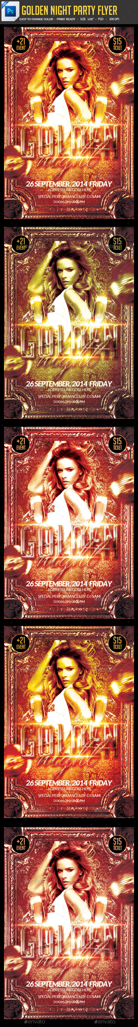 GraphicRiver Golden Night Party Flyer 9085885