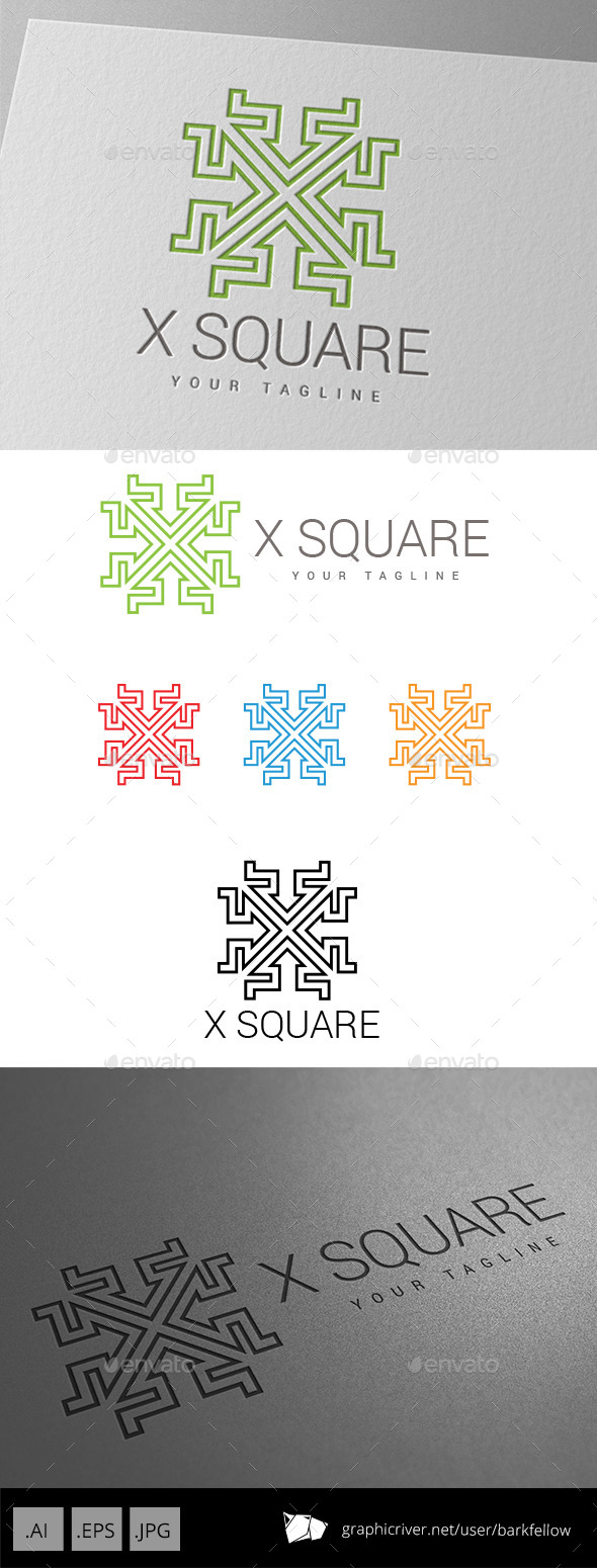 GraphicRiver X Square Techno Logo 9086006