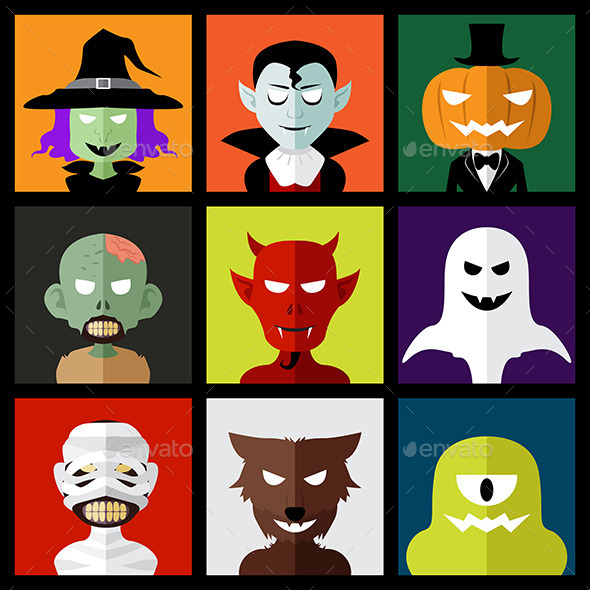 GraphicRiver Halloween Monster Icons 9086052