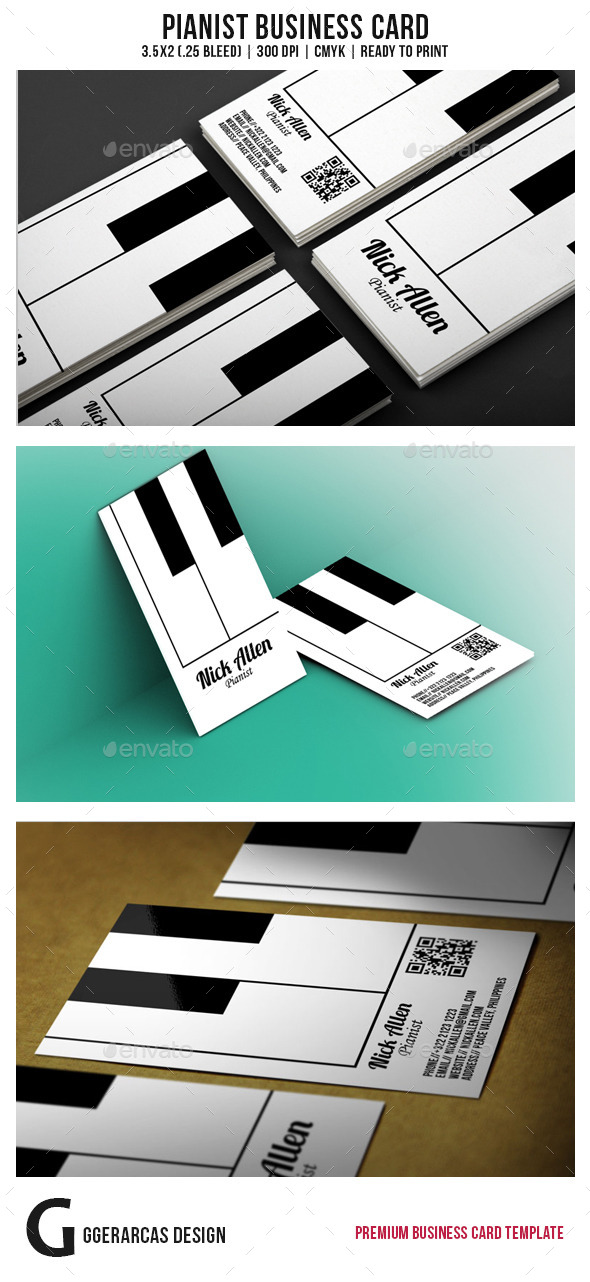 GraphicRiver Pianist Business Card 9086073