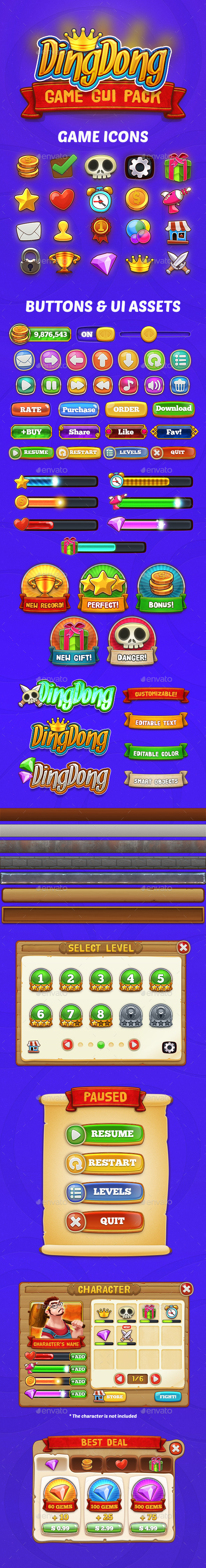 GraphicRiver DingDong Game GUI Pack 9069938