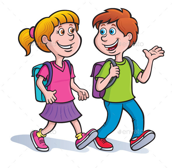 GraphicRiver Boy and Girl Walking with Backpacks 9086742