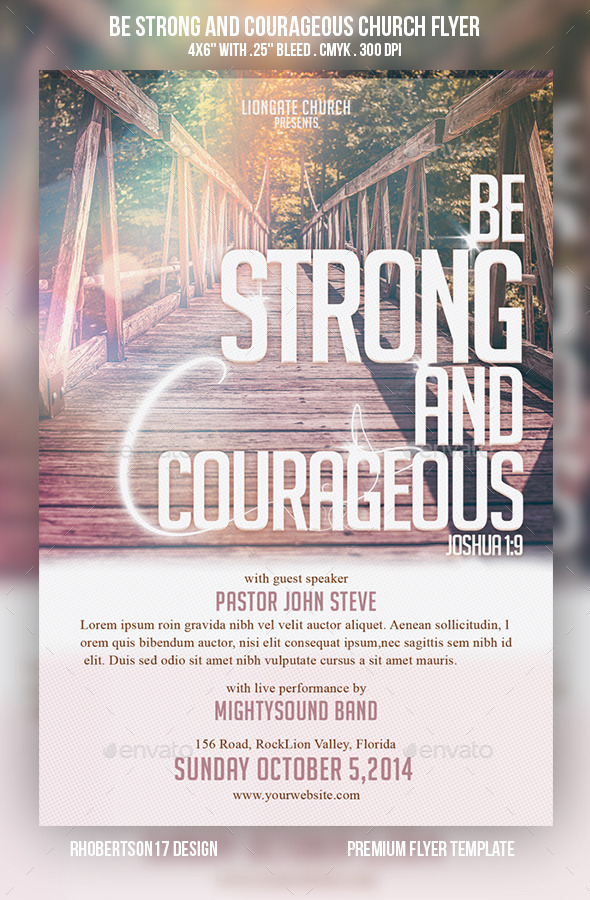 GraphicRiver Be Strong and Courageous Church Flyer 9086916