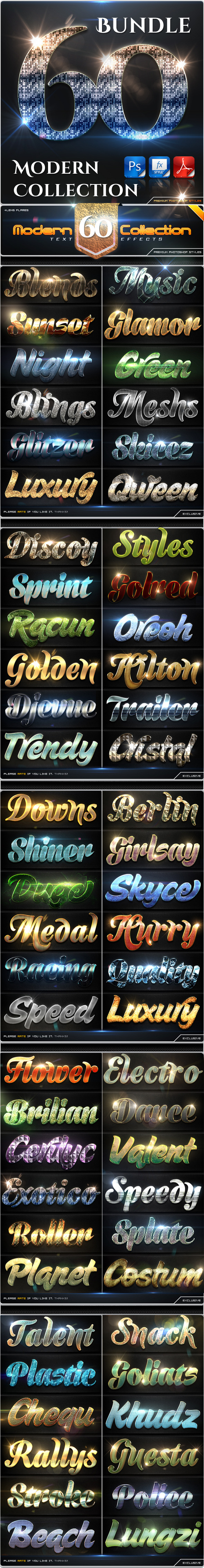 GraphicRiver 60 Modern Collection Text Effect Styles Bundle 9087182