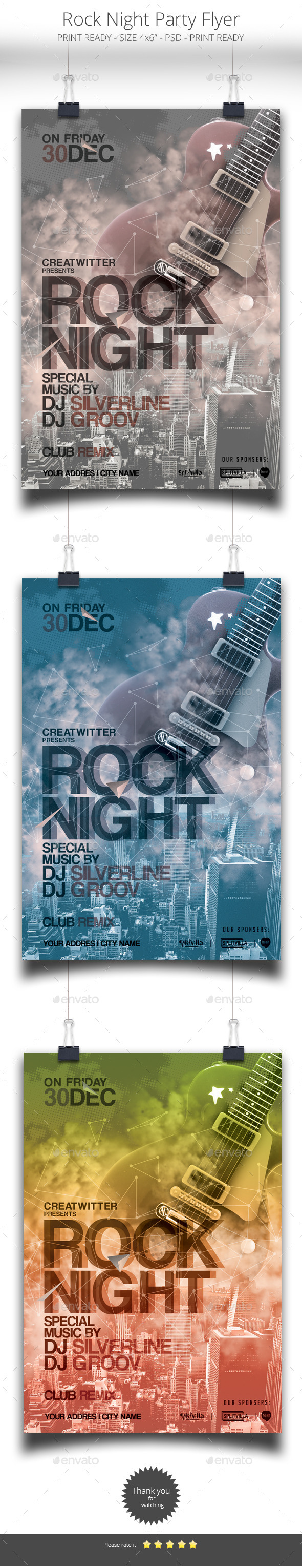 GraphicRiver Rock Night Flyer 9083111