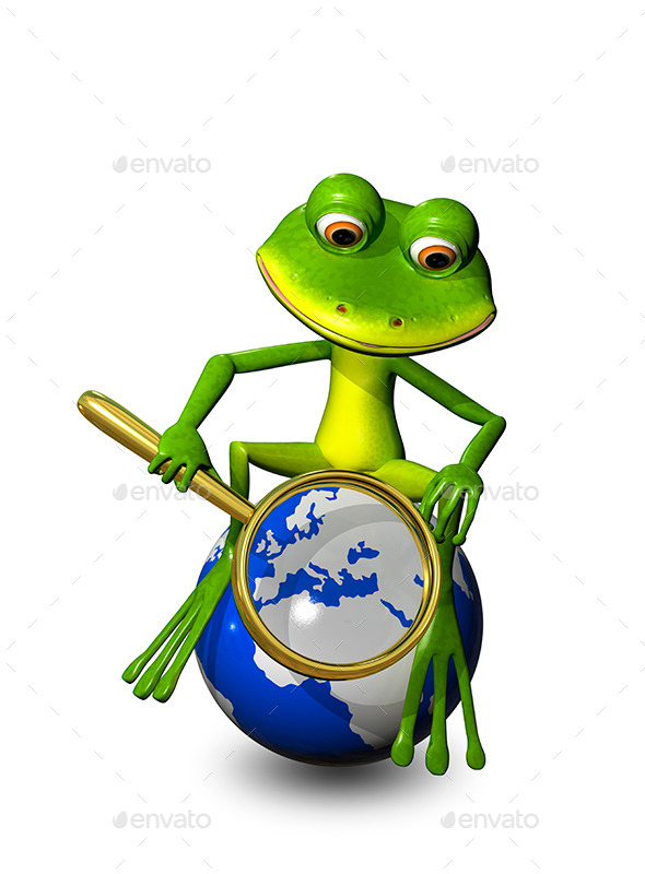 GraphicRiver Frog on a Globe with a Magnifying