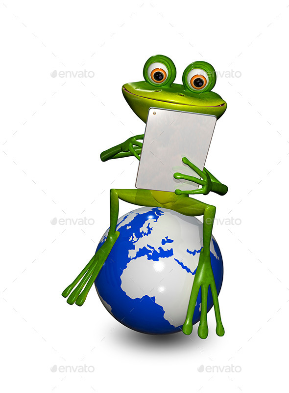 GraphicRiver Frog on a Globe with the Tablet 9088164
