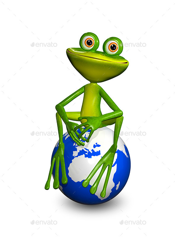 GraphicRiver Frog on Globe 9088218