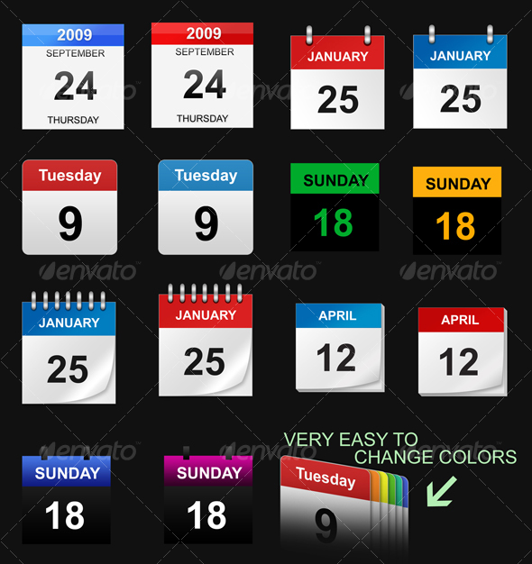 GraphicRiver Calendar Icons 38074