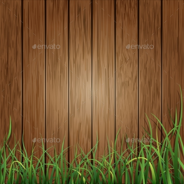 GraphicRiver Wood Planks and Green Grass Background 9088354