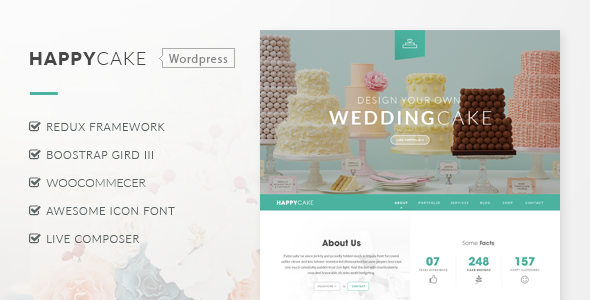 ThemeForest HappyCake Restaurant Wordpress Theme 8905392