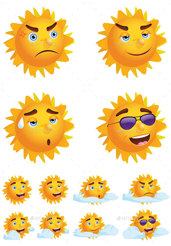 GraphicRiver Sun with Different Emotions 9088433