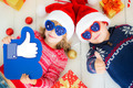 Portrait of happy children with Christmas decorations - PhotoDune Item for Sale
