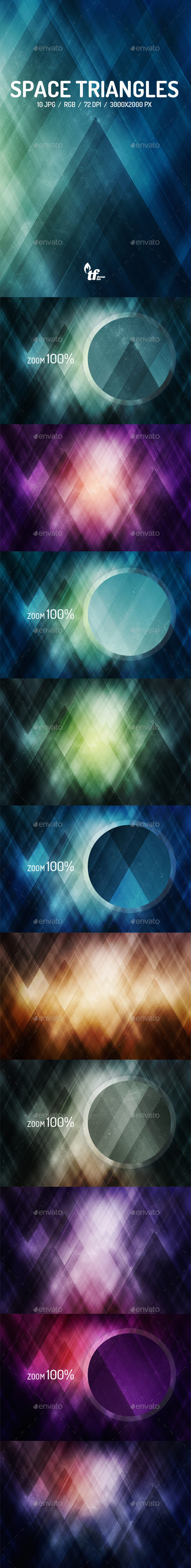 GraphicRiver Space Triangles Backgrounds 9088678
