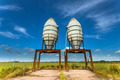 Artistic Impression of Two Silos in a Green Field - PhotoDune Item for Sale