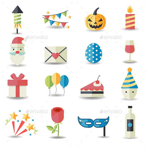 GraphicRiver Celebration and Party Icons 9089078