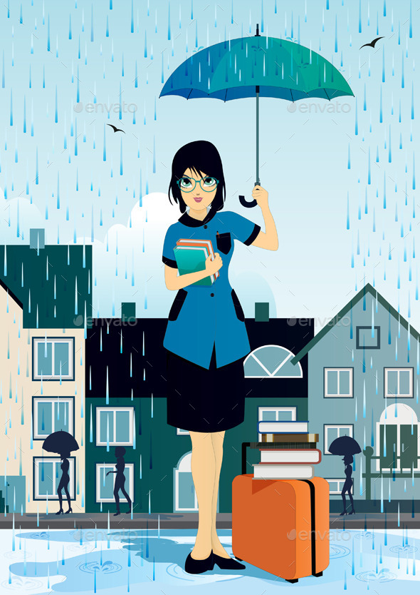 GraphicRiver Woman holding an Umbrella 9089116