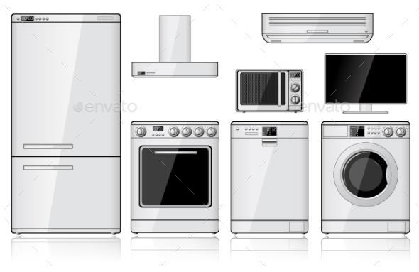 GraphicRiver Set Of Realistic Household Appliances 9089831