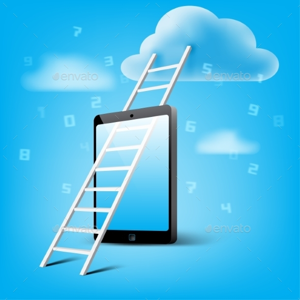 GraphicRiver Ladder to Cloud through Smart Phone 9089833