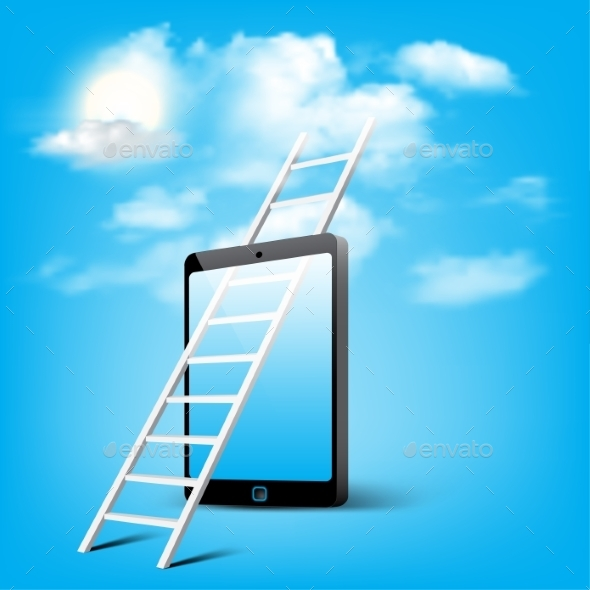 GraphicRiver Ladder to Cloud through Smart Phone 9089834